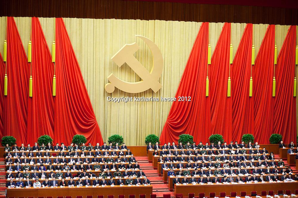 BEIJING, NOV. 8, 2012 : die Fuehrung der Kommunistischen partei ist auf dem Podium versammelt .