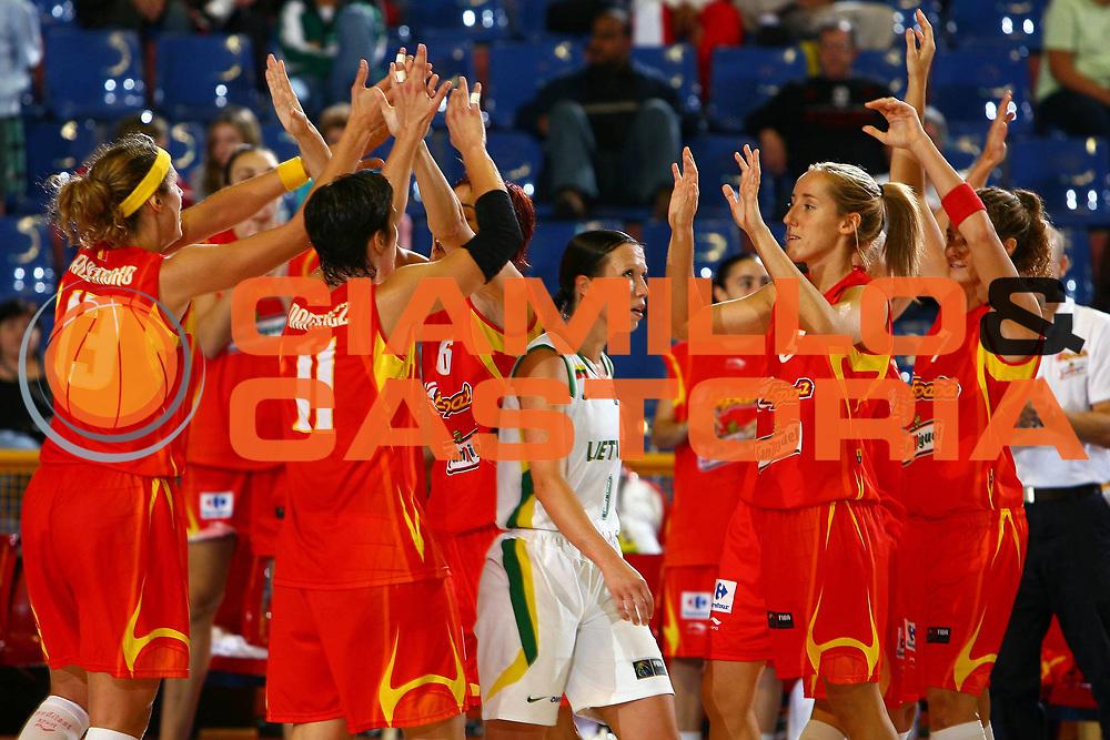 DESCRIZIONE : San Paolo Sao Paolo Brasile Brazil World Championship for Women 2006 Campionati Mondiali Donne Spain-Lithuania<br /> GIOCATORE :<br /> SQUADRA : Spain Spagna Lithuania Lituania<br /> EVENTO : San Paolo Sao Paolo Brasile Brazil World Championship for Women 2006 Campionati Mondiali Donne Spain-Lithuania<br /> GARA : Spain Lithuania Spagna Lituania<br /> DATA : 18/09/2006 <br /> CATEGORIA : esultanza<br /> SPORT : Pallacanestro <br /> AUTORE : Agenzia Ciamillo-Castoria/E.Castoria <br /> Galleria : world championship for women 2006<br /> Fotonotizia : San Paolo Sao Paolo Brasile Brazil World Championship for Women 2006 Campionati Mondiali Donne Spain-Lithuania<br /> Predefinita : si