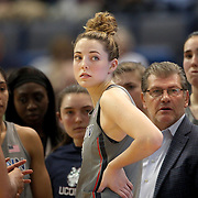 HARTFORD, CONNECTICUT- DECEMBER 19: Katie Lou Samuelson #33 of the Connecticut Huskies with her team and coach Geno Auriemma during time out during the UConn Huskies Vs Ohio State Buckeyes, NCAA Women's Basketball game on December 19th, 2016 at the XL Center, Hartford, Connecticut (Photo by Tim Clayton/Corbis via Getty Images)