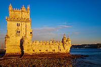 Portugal, Lisbonne, quartier de Bélem, Tour de Bélem ou Torre de Bélem, classé Patrimoine Mondial de l'UNESCO// Portugal, Lisbon, Belem tower, Architect Francisco de Arruda, 1515-1521 (UNESCO World Heritage List, 1983), Belem district, Lisbon, Portugal, 16th century
