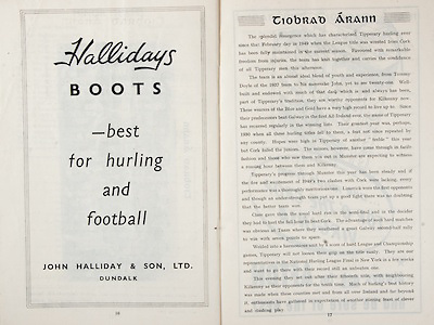 All Ireland Senior Hurling Championship Final,.Brochures,.03.09.1950, 09.03.1950, 3rd September 1950, .Tipperary 1-9, Kilkenny 1-8, .Minor Tipperary v Kilkenny,.Senior Tipperary v Kilkenny, .Croke Park, ..Advertisements, Hallidays Boots John Halliday & Son Ltd, ..Articles, Tiobrad Arann,