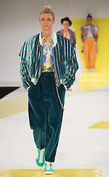 © Licensed to London News Pictures. 01/06/2015. London, UK. Collection by Michelle Smith. Fashion show of De Montfort University (Leicester) at Graduate Fashion Week 2015. Graduate Fashion Week takes place from 30 May to 2 June 2015 at the Old Truman Brewery, Brick Lane. Photo credit : Bettina Strenske/LNP