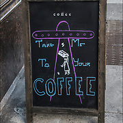 Coffee Blackboard humorous  outdoor sign.  Take off on Take Me to Your Leader....&quot;Take Me to Your Coffee'&quot;<br /> <br /> BIRCH coffee on 7th Ave, NYC