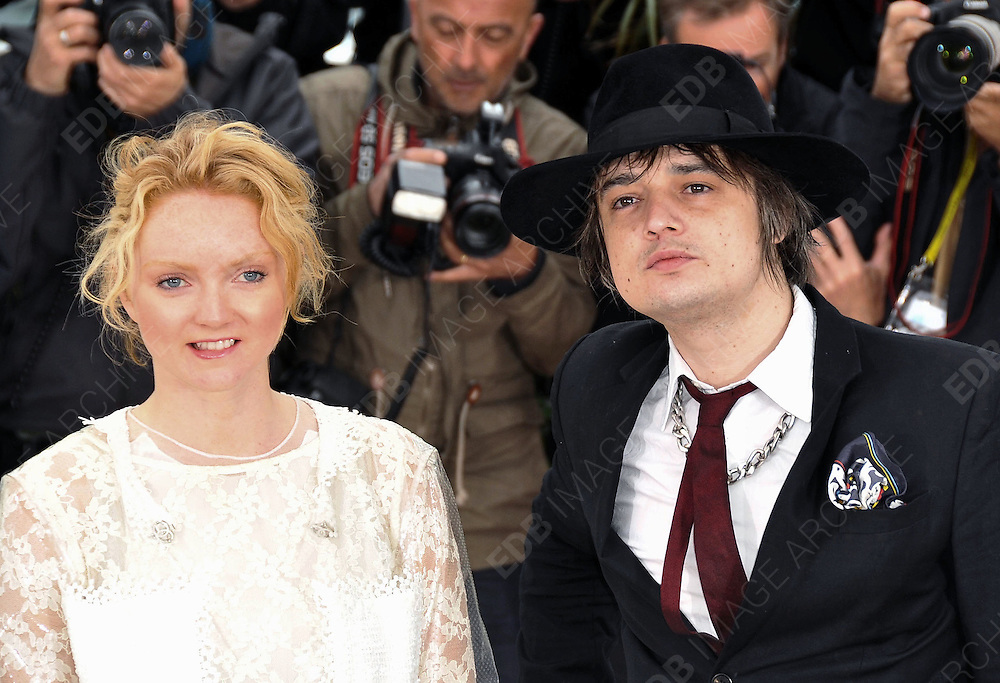 20.MAY.2012. CANNES<br /> <br /> PETE DOHERTY AND LILY COLE ATTEND THE &quot;CONFESSION OF A CHILD OF THE CENTURY&quot; PHOTOCALL AT THE 2012 CANNES FILM FESTIVAL.<br /> <br /> BYLINE: EDBIMAGEARCHIVE.CO.UK<br /> <br /> *THIS IMAGE IS STRICTLY FOR UK NEWSPAPERS AND MAGAZINES ONLY*<br /> *FOR WORLD WIDE SALES AND WEB USE PLEASE CONTACT EDBIMAGEARCHIVE - 0208 954 5968*