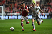 Joe Bryan (3) of Bristol City on the attack chased by Matteo Darmian (36) of Manchester United during the EFL Cup match between Bristol City and Manchester United at Ashton Gate, Bristol, England on 20 December 2017. Photo by Graham Hunt.