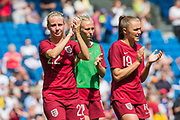 Beth Mead (England) & Georgia Stanway (England) clapping the supporters following the FIFA Women's World Cup UEFA warm up match between England Women and New Zealand Women at the American Express Community Stadium, Brighton and Hove, England on 1 June 2019.