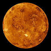 The northern hemisphere is displayed in this global view of the surface of Venus. The north pole is at the center of the image. Magellan.