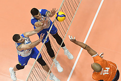 Alen Pajenk, Klemen Cebulj of Slovenia and Nimir Abdelaziz of Netherland during friendly volleyball match between National Men teams of Slovenia and Netherlands, on Januar 2nd, 2020, in Dvorana Tabor, Maribor, Slovenia. Photo by Milos Vujinovic / Sportida
