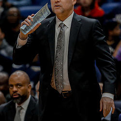 Dec 6, 2017; New Orleans, LA, USA; Denver Nuggets head coach Michael Malone against the New Orleans Pelicans during the second half at the Smoothie King Center. The Pelicans defeated the Nuggets 123-114. Mandatory Credit: Derick E. Hingle-USA TODAY Sports