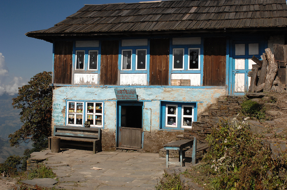 The Hotel Rhododendron, a tea house in Nepal, outside of the village of Sete.