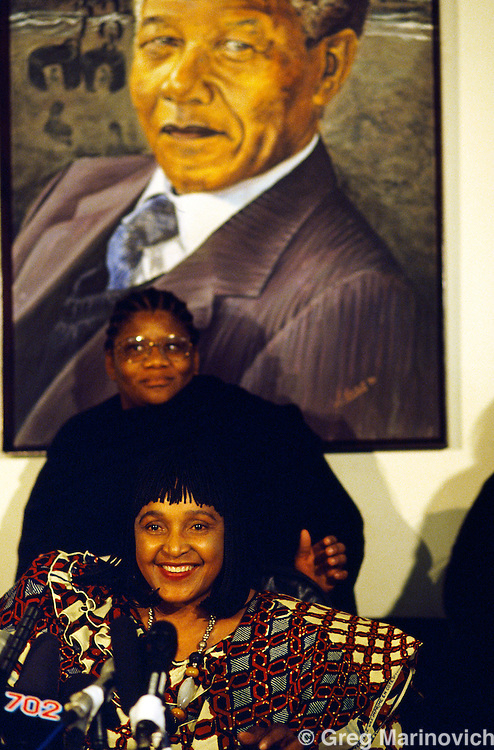 Winnie Mandela at her Soweto home during the messy proceeding leading up to her divorce from ANC leader Nelson Mandela.