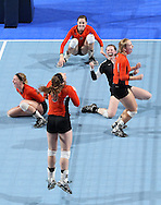 West Delaware celebrates the game winning score during the fifth game of a 3A semifinal in the state volleyball tournament at the U.S. Cellular Center at 370 1st Ave E on Friday afternoon, November 12, 2010. (Stephen Mally/Freelance)