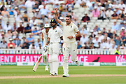 Wicket - James Anderson of England celebrates taking the wicket of Mohammed Shami of India during second day of the Specsavers International Test Match 2018 match between England and India at Edgbaston, Birmingham, United Kingdom on 2 August 2018. Picture by Graham Hunt.