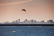 Wind Surfers At Seal Beach Pier With Long Beach Skyline