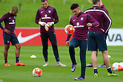 England midfielder Alex Oxlade-Chamberlain shows his skills during the England Training Session at St George's Park National Football Centre, Burton-Upon-Trent, United Kingdom on 7 October 2015. Photo by Aaron Lupton.