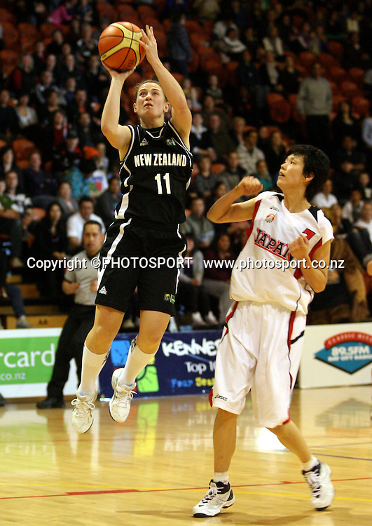 New Zealand's Kate McMeeken-Ruscoe puts up a shot. International basketball, Tall Ferns v Japan, PG Arena, Napier, Thursday 27 August 2009. Photo: John Cowpland/PHOTOSPORT