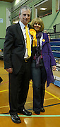 © Licensed to London News Pictures. 01/03/2013. Eastleigh, UK Liberal Democrat Mike Thornton and his wife Peta after he wins the eastleigh by-election. Ballot boxes begin to arrive at the count centre at  Fleming Park Leisure Centre in Eastleigh this evening. The voters of Eastleigh vote to choose a new MP in a by-election prompted by the resignation of former Lib Dem cabinet minister Chris Huhne. Polling will continued 22:00 GMT 28/02/13, with votes counted overnight on Thursday. There are 14 candidates in total on the ballot papers.. Photo credit : Stephen Simpson/LNP