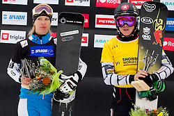Marion Kreiner (AUT) and Ester Ledecka (CZE) during flower ceremony after Parallel Giant Slalom at FIS Snowboard World Cup Rogla 2016, on January 23, 2016 in Course Jasa, Rogla, Slovenia. Photo by Urban Urbanc / Sportida