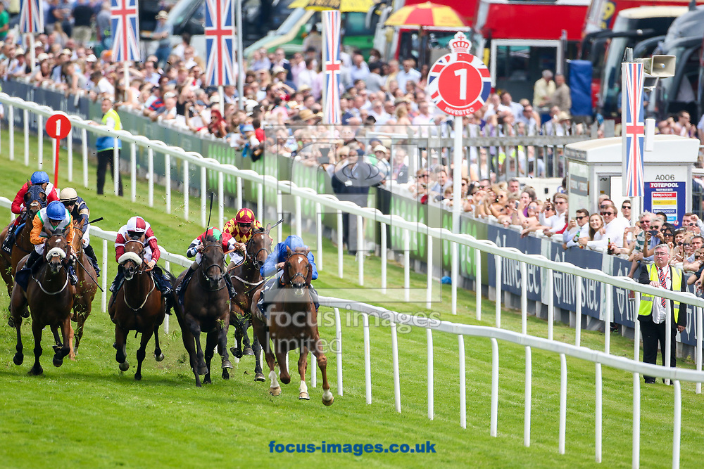 G K Chesterton ridden by William Buick wins the Investec Click &amp; Invest Mile Handicap on Ladies Day at Epsom Racecourse, Surrey.<br /> Picture by Mark Chappell/Focus Images Ltd +44 77927 63340<br /> 02/06/2017