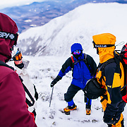 Mountaineering instruction from Joe Lentini with Mount Washington Observatory near the summit of Mount Washington.
