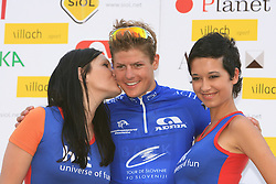 Winner Jakob Fuglsang of Denmark (Team Saxo Bank) in blue jersey as the best cyclist in points classification at the flower ceremony at 1st stage of Tour de Slovenie 2009 from Koper (SLO) to Villach (AUT),  229 km, on June 18 2009, in Koper, Slovenia. (Photo by Vid Ponikvar / Sportida)
