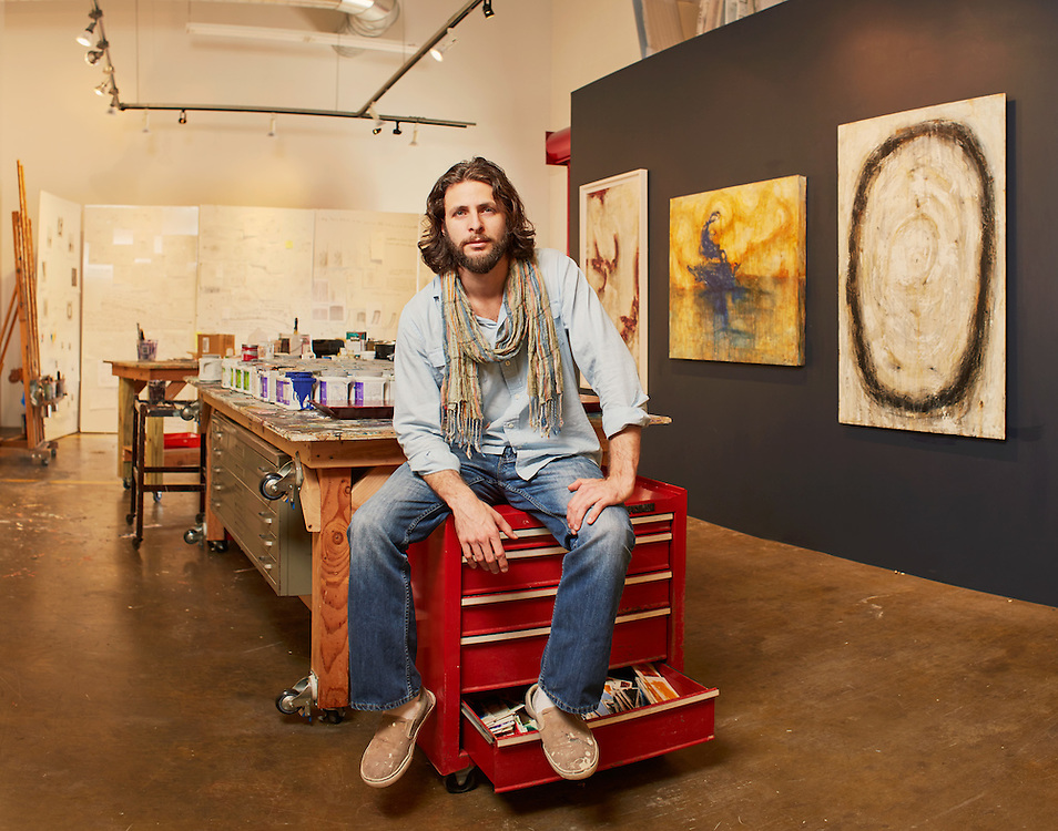 Artist Justin Garcia is photographed Monday afternoon April 27, 2015 at his studio in Houston, TX.<br /> <br /> Nathan Lindstrom Photography<br /> <br /> ©2015 Nathan Lindstrom