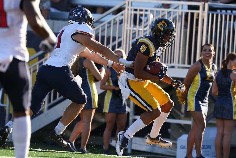 October 7, 2017 - Johnson City, Tennessee - William B. Greene Jr. Stadium: ETSU wide receiver Drake Powell (9)<br /> <br /> Image Credit: Dakota Hamilton/ETSU