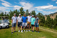 KELOWNA, CANADA - JULY 21: Curtis Hamilton, Tom Dyas, Cody Almond, Shea Weber, Gavin Hamilton and Josh Gorges pose on the second hole at the Kelowna Rockets Alumni golf tournament at Black Mountain Golf Club in Kelowna, British Columbia, Canada.  (Photo by Marissa Baecker/Shoot the Breeze)  *** Local Caption ***