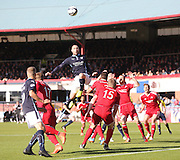 Dundee's James McPake rises high above the Aberdeen defence - Dundee v Aberdeen, SPFL Premiership at Dens Park<br /> <br />  - &copy; David Young - www.davidyoungphoto.co.uk - email: davidyoungphoto@gmail.com