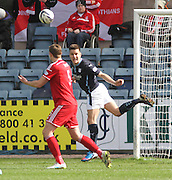 Dundee's Thomas Konrad heads clear from Aberdeen&rsquo;s Ash Taylor - Dundee v Aberdeen, SPFL Premiership at Dens Park<br /> <br />  - &copy; David Young - www.davidyoungphoto.co.uk - email: davidyoungphoto@gmail.com
