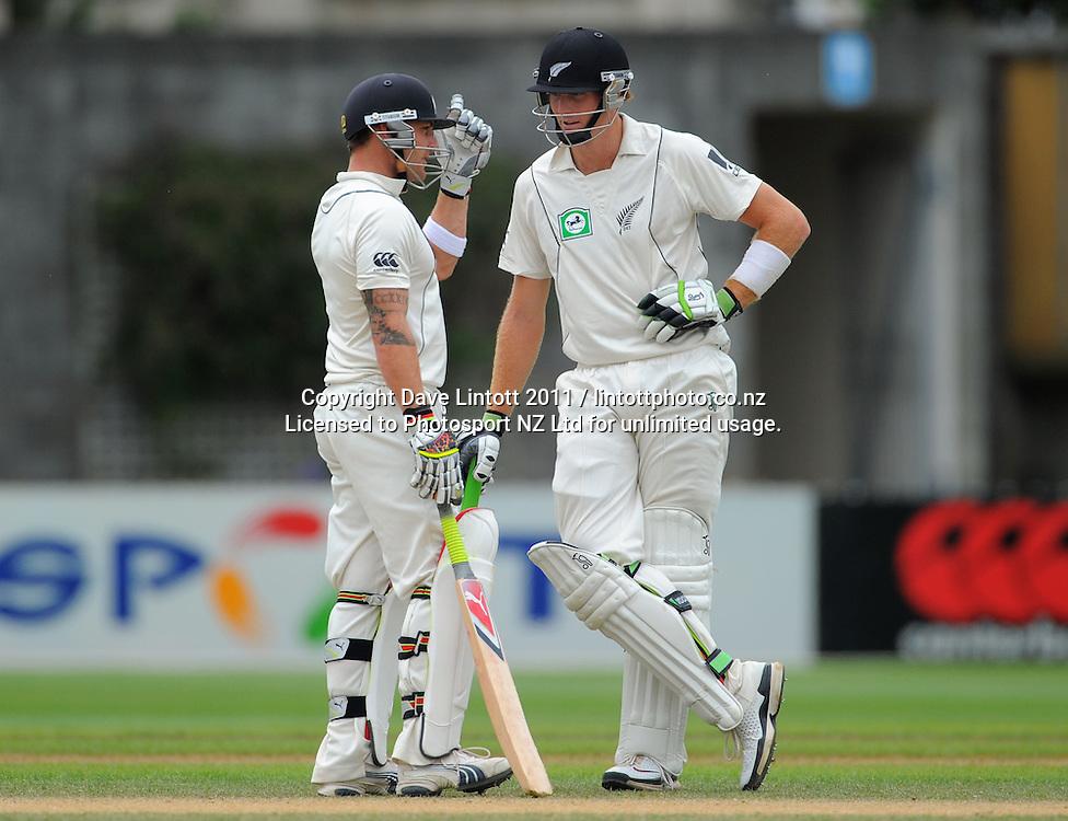 NZ openers Brendan McCullum and Martin Guptill. 2nd cricket test match - New Zealand Black Caps v Pakistan, day four at the Basin Reserve, Wellington, New Zealand on Tuesday, 18 January 2011. Photo: Dave Lintott / photosport.co.nz