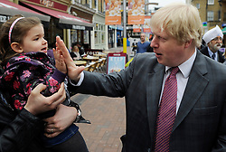 London Mayor Boris Johnson  campaigning in Ealing, West London, for his Mayoral Campaign, Saturday March 31, 2012. Photo By Andrew Parsons/I-images