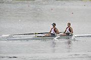 Munich GERMANY,   GBR LM2X,  bow Rob WILLIAMS and Paul MATTICK, at the start of their heat in the men's lightweight double sculls at the 2nd Round FISA World cup on the Olympic Rowing Course Munich, Friday 19/06/2009, [Mandatory Credit. Peter Spurrier/Intersport Images]