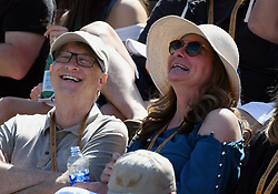 March 15, 2019 - Indian Wells, CA, U.S. - INDIAN WELLS, CA - MARCH 15: Businessman and philanthropist Bill Gates and his wife Melinda Gates having fun in the stands during a tennis match between Hubert Hurkacz (POL) and Roger Federer (SUI) during the BNP Paribas Open on March 15, 2019 at the Indian Wells Tennis Garden in Indian Wells, CA. (Photo by John Cordes/Icon Sportswire) (Credit Image: © John Cordes/Icon SMI via ZUMA Press)