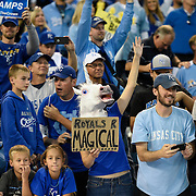 Kansas City Royals fans cheered after seeing the Royals win Game 4 of the American League Championship Series against Baltimore Orioles on Wednesday October 15, 2014 at Kauffman Stadium in Kansas City, MO. The Royals beat the Baltimore Orioles 2-1 to advance to the World Series.