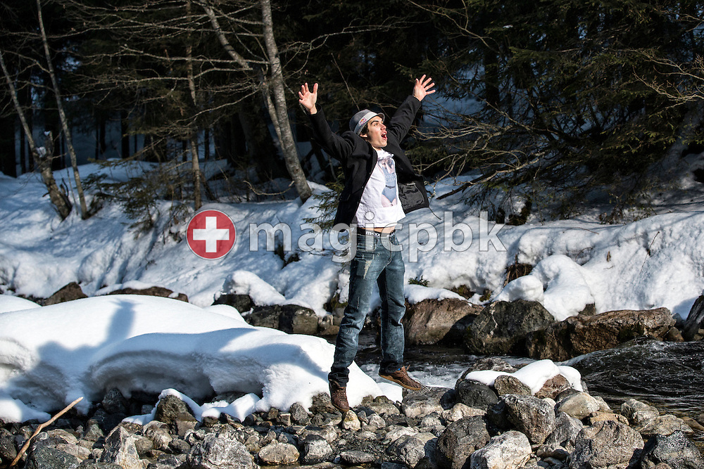 Swiss freeskier Elias AMBUEHL (AMBUHL) of Switzerland is pictured during a portrait photo session at the Plessur creek in Litzirueti, Switzerland, Friday, Feb. 1, 2013. (Photo by Patrick B. Kraemer / MAGICPBK)