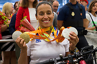 Spanish's paralympic Teresa Perales arrive to Madrid Adolfo Suarez airport after the Paralympics of Rio 2016 . September 21, 2016. (ALTERPHOTOS/Rodrigo Jimenez)