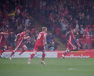 August 19th 2017, Pittodrie Stadium, Aberdeen, Scotland;  Scottish Premiership football, Aberdeen versus Dundee; Aberdeen's Stevie May celebrates in the Pittodrie rain after scoring for 1-0