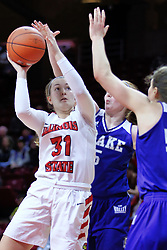 NORMAL, IL - January 06: Kayel Newland doubled on by Becca Hittner and Sara Rhine during a college women's basketball game between the ISU Redbirds and the Drake Bulldogs on January 06 2019 at Redbird Arena in Normal, IL. (Photo by Alan Look)