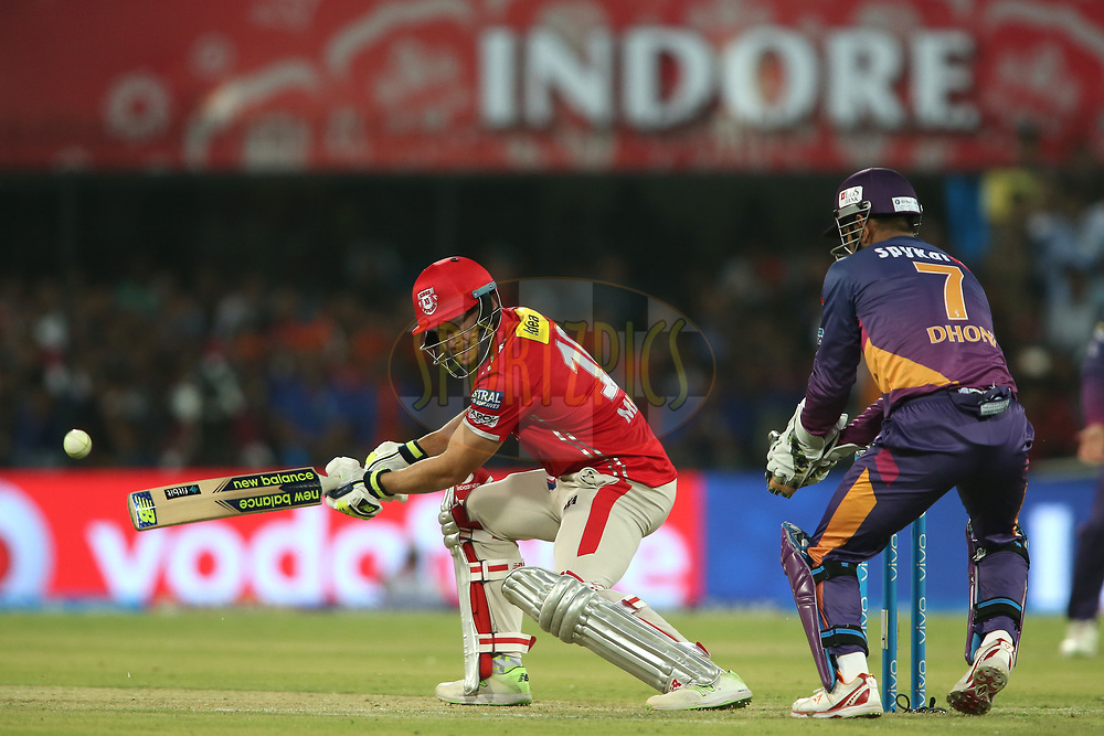 David Miller of Kings XI Punjab plays a delivery behind square during match 4 of the Vivo 2017 Indian Premier League between the Kings XI Punjab and the Rising Pune Supergiant held at the Holkar Cricket Stadium in Indore, India on the 8th April 2017<br /> <br /> Photo by Shaun Roy - IPL - Sportzpics