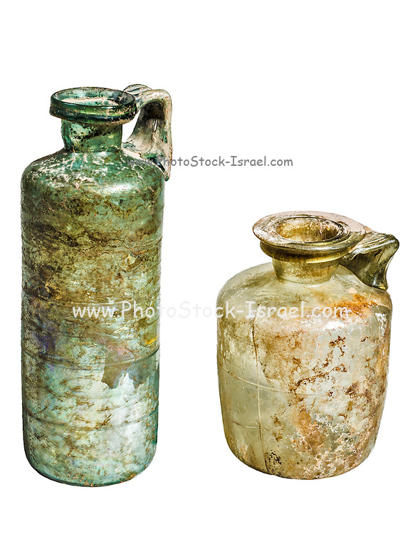 Two glass bottles Roman period 1st-2nd century CE 23 and 15 cm high