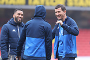 Watford head coach Javi Gracia jokes with Watford defender Adrian Mariappa (6) & Watford midfielder Will Hughes (19) before kick-off at the Premier League match between Watford and West Bromwich Albion at Vicarage Road, Watford, England on 3 March 2018. Picture by Bennett Dean.