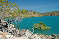 Blue water in Deception Bay on the Kimberley coast.