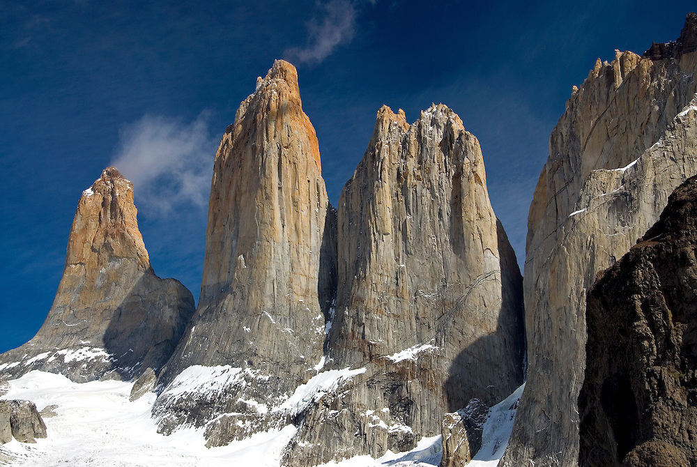 The granite spires of Torres Del Paine, Torres Del Paine National Park, Chile.