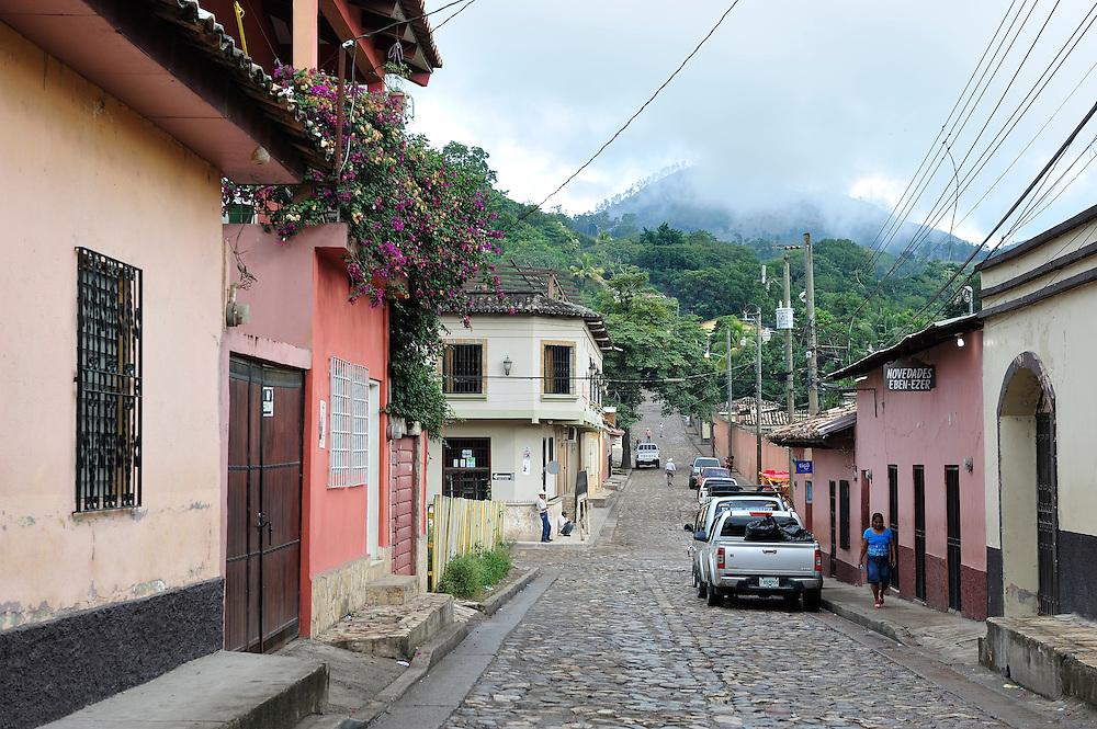 Street in Copan Ruinas, Central America, Honduras.