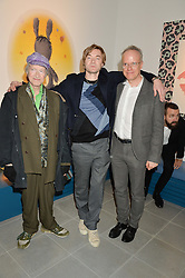 Left to right, MICHAEL HOROVITZ, HARLAND MILLER and HANS ULRICH OBRIST at the Future Contemporaries Party in association with Coach at The Serpentine Sackler Gallery, West Carriage Drive, Kensington Gardens, London on 21st February 2015.