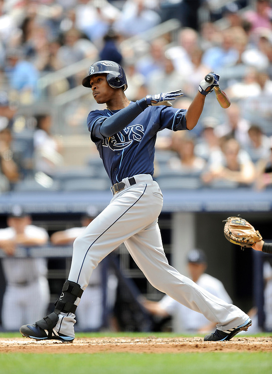 NEW YORK - JUNE 06: B.J. Upton #2 of the Tampa Bay Rays bats  against the New York Yankees on June 6, 2009 at Yankee Stadium in the Bronx borough of New York City. The Rays defeated the Yankees 9 to 7. (Photo by Rob Tringali) *** Local Caption *** B.J. Upton