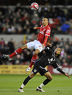 Nottingham - Saturday November 22nd, 2008: Nathan Tyson of Nottingham Forest and Ryan Bertrand of Norwich City during the Coca Cola Championship match at The City Ground, Nottingham. (Pic by Alex Broadway/Focus Images)