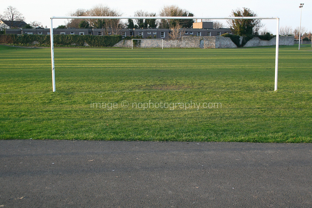 Football goal posts at local footbal club in Sallynoggin Dublin Ireland