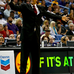Mar 25, 2013; New Orleans, LA, USA; New Orleans Hornets head coach Monty Williams against the Denver Nuggets during the second quarter of a game at the New Orleans Arena. Mandatory Credit: Derick E. Hingle-USA TODAY Sports